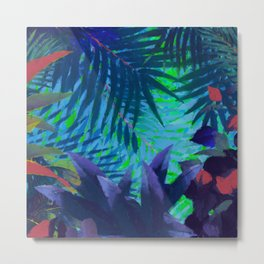 Colorful abstract palm leaves Metal Print