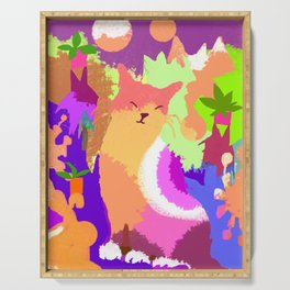 Cat with Abstract Background Serving Tray