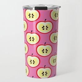 Apple Print Pattern Fruit Printed Bright Pink Art Travel Mug