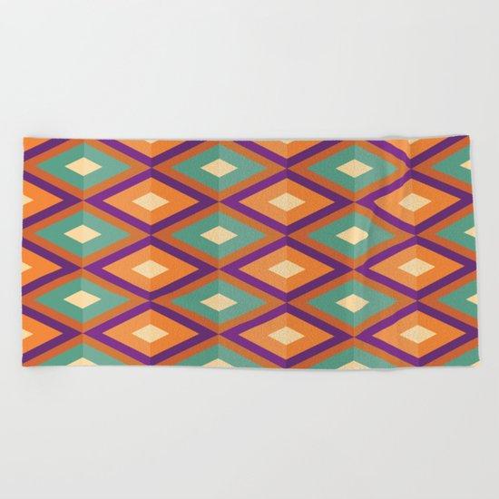 Pattern orange green Beach Towel
