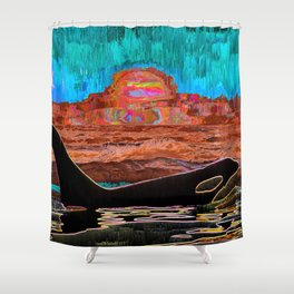 Orca Sunset Shower Curtain