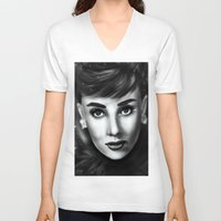 audrey V-neck T-shirts featuring Audrey  by Lily Fitch