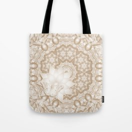 Butterfly on mandala in iced coffee tones Tote Bag