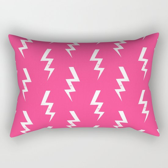 Bolts lightening bolt pattern pink and white minimal cute patterned gifts Rectangular Pillow