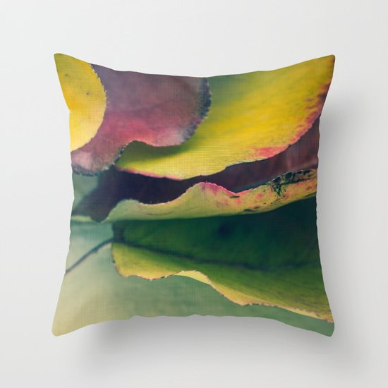 Fall Leaves II - Yellow, Lime Green, Red Purple Throw Pillow