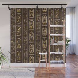Egyptian hieroglyphs Gold on Brown Leather Wall Mural