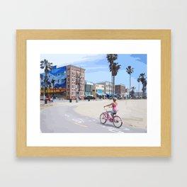 Riding bike in Venice Beach Framed Art Print