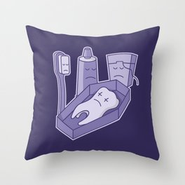 Tooth funeral Throw Pillow