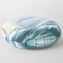 sea landscape watercolor blue Floor Pillow