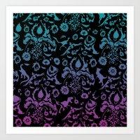 gradient floral dinos  Art Print