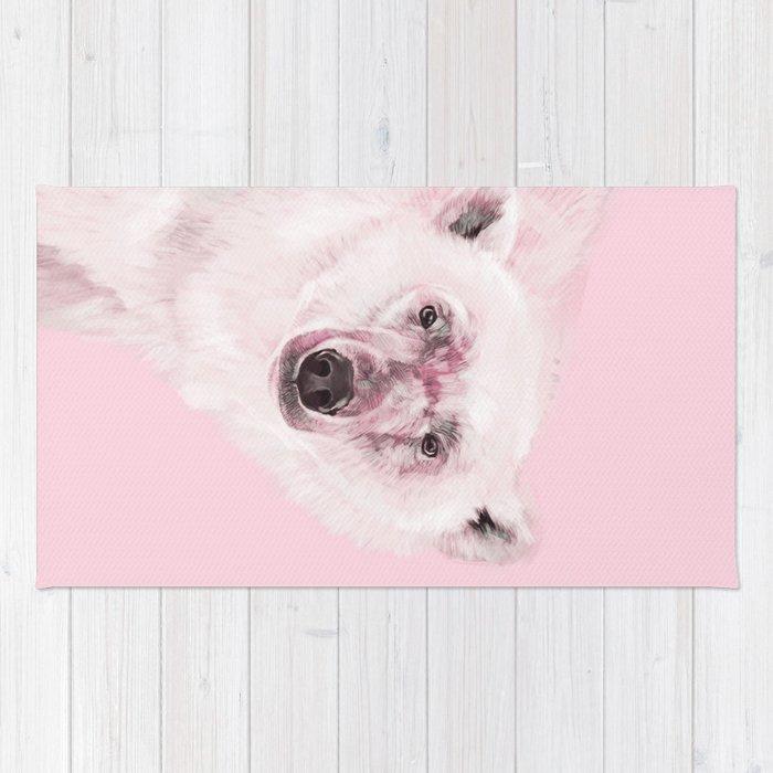 Polar Bear in Pink Rug