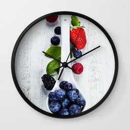 Berries with spoon Wall Clock
