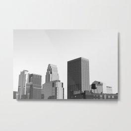 Minneapolis Minnesota Black and White Skyline Metal Print