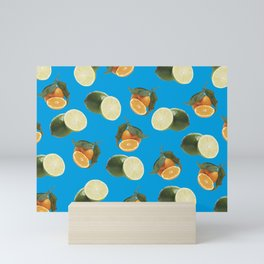 Lime and Clementine Fruits Pattern on Cyan Background Mini Art Print