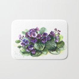 Senpolia viola violet flowers watercolor Bath Mat