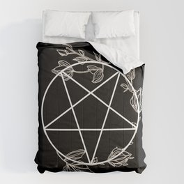 Pentagram with Plant Adornments - on black Comforters