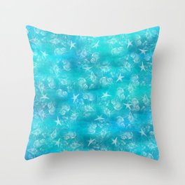 Ocean print Shells Summer Sea snails Stars Nature print Animal print Throw Pillow