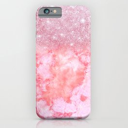 Sparkly Pink Rosegold Glitter Blush Marble iPhone Case