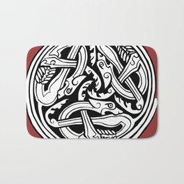 Celtic Art - Dog Triskele - on Red Bath Mat