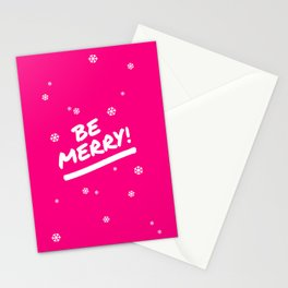 Bright Pink Be Merry Christmas Snowflakes Stationery Cards