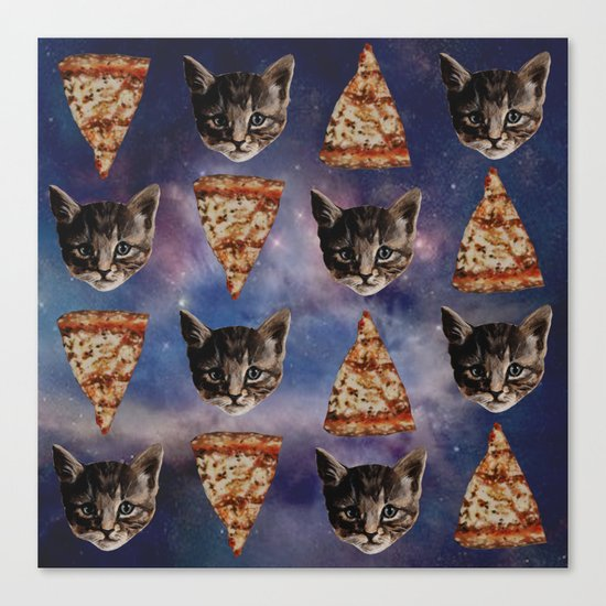 Kitten Pizza Galaxy  Canvas Print