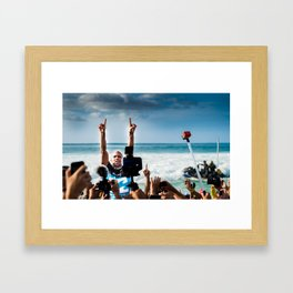 Kelly Slater Pipe Masters Victory - Hawaii - 2013 Framed Art Print