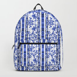 Chinoiserie Striped Floral Print Backpack