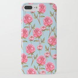 Pink Peonies On Blue Background iPhone Case