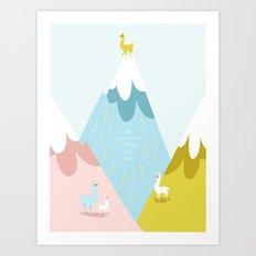 Cute Little Alpacas on the Mountains Art Print