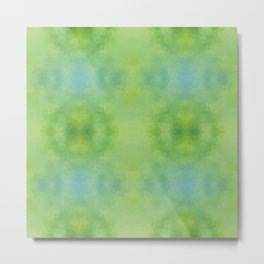 Kaleidoscopic design in soft green colors Metal Print