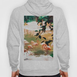Flamingo Sighting, Jungle Nature Wildlife Birds Painting, Animals Forest Safari Illustration Hoody