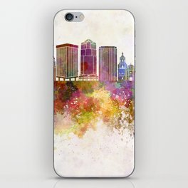 Tucson V2 skyline in watercolor background iPhone Skin