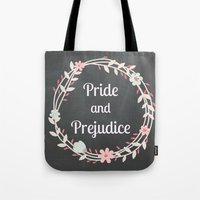 pride and prejudice Tote Bags featuring Pride and Prejudice Typography by My Little Thought Bubbles