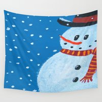 snowman Wall Tapestries featuring Snowman by gretzky