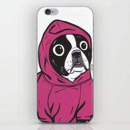 Pink Hoodie Boston Terrier iPhone Skin