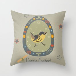 Festive Easter Egg with Cute Bird Throw Pillow