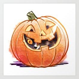 Pumpkin Spice Kitty Art Print