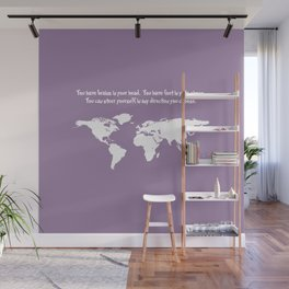 World Map with Dr. Seuss Quote Wall Mural