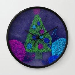Hedgehog Holiday Wall Clock