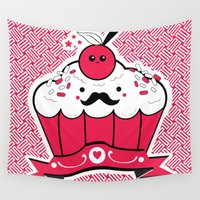 cupcake Wall Tapestries featuring Hipster Cupcake by Inkroyable