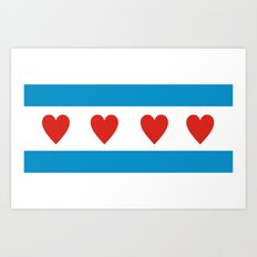 chicago love flag Art Print