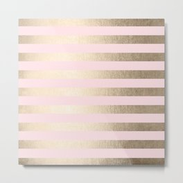 Stripes White Gold Sands on Pink Flamingo Metal Print