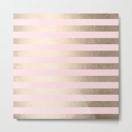 Stripes White Gold Sands on Pink Flamingo Metal Print