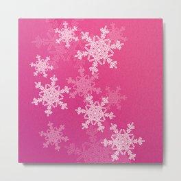 Pink snowflakes Metal Print