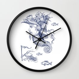 Sea Posse I - Warrior, Navy Print Wall Clock