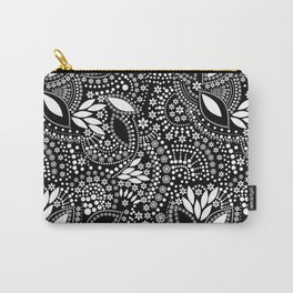 Placer of white beads on a black background . Carry-All Pouch