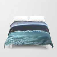 skiing Duvet Covers featuring Skiing by Cs025
