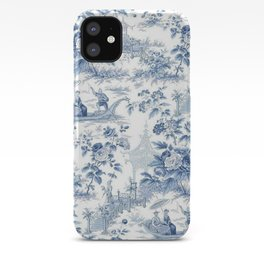 Powder Blue Chinoiserie Toile iPhone Case