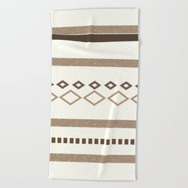 Western Pattern, Out West, Patterns, Brown, Tan, Beige, Shapes, Geometric Western Art Beach Towel