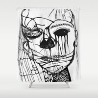 psycho Shower Curtains featuring ~psycho by alexisdarkness
